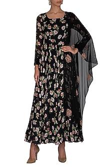 Black Embroidered Printed Anarkali Set by Neha Chopra