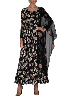 Black Embroidered Printed Anarkali Set by Neha Chopra