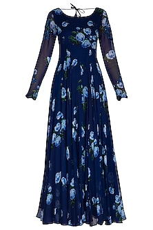 Dark Blue Embroidered Printed Anarkali Set by Neha Chopra