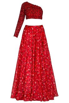 Red Embroidered Printed Lehenga Set by Neha Chopra