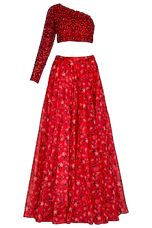 Red Embroidered Printed Lehenga Set by Neha Chopra