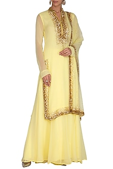 Lemon Yellow Embroidered Sharara Set by Neha Chopra