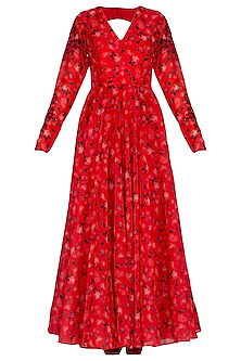 Red Embroidered Printed Anarkali Set by Neha Chopra