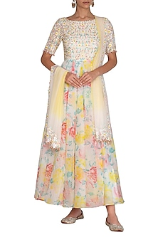 White Embroidered Printed Anarkali Set by Neha Chopra