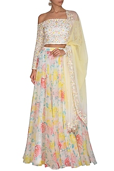 White Embroidered Printed Lehenga Set by Neha Chopra