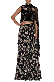 Black Embroidered Printed Lehenga Set by Neha Chopra