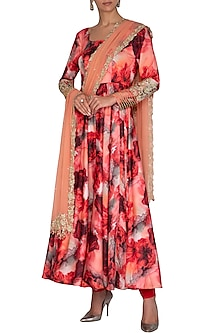 Peach Embroidered Printed Anarkali Set by Neha Chopra