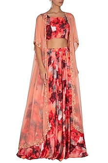 Peach Embroidered Printed Lehenga Set by Neha Chopra