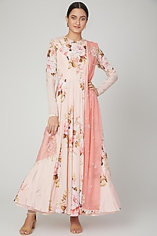 Blush Pink Printed Anarkali Set by Neha Chopra