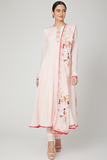 Blush Pink Embroidered Anarkali Set by Neha Chopra