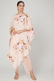 Blush Pink Printed Kaftan With Pants by Neha Chopra