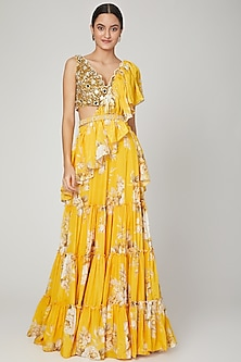 Mango Yellow Printed Lehenga Saree Set With Belt by Neha Chopra