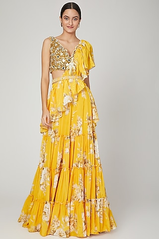 Mango Yellow Printed Lehenga Saree Set With Belt by Neha Chopra Tandon