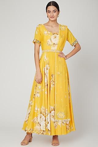 Mango Yellow Printed Anarkali Set by Neha Chopra Tandon