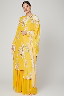 Mango Yellow Printed Sharara Set by Neha Chopra