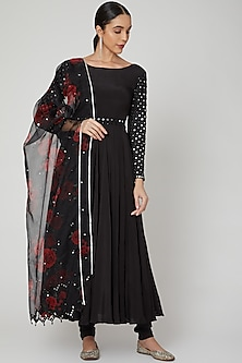 Black Floral Printed & Embroidered Anarkali Set  by Neha Chopra