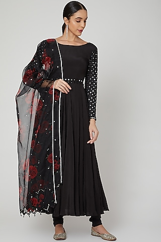 Black Floral Printed & Embroidered Anarkali Set  by Neha Chopra Tandon