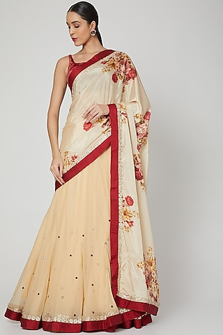 Beige Printed & Embroidered Lehenga Saree Set by Neha Chopra Tandon