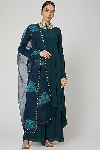 Emerald Green Printed & Embroidered Anarkali Set  by Neha Chopra Tandon