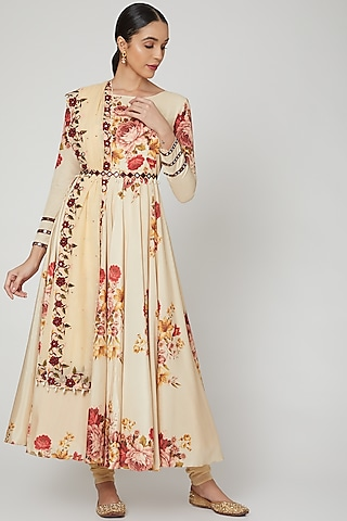 Beige Printed & Embroidered Anarkali Set  by Neha Chopra Tandon