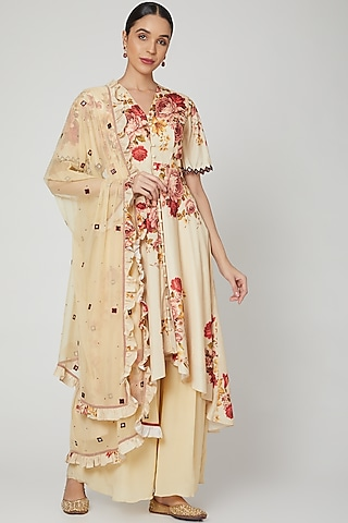Beige Floral Printed & Embroidered Anarkali Set  by Neha Chopra Tandon