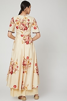 Beige Floral Printed & Embroidered Anarkali Set  by Neha Chopra