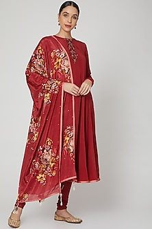 Maroon Floral Printed & Embroidered Anarkali Set  by Neha Chopra