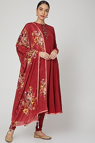Maroon Floral Printed & Embroidered Anarkali Set  by Neha Chopra Tandon
