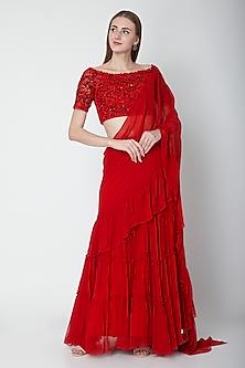 Red Embroidered Ruffled Lehenga Saree Set by Neha Chopra