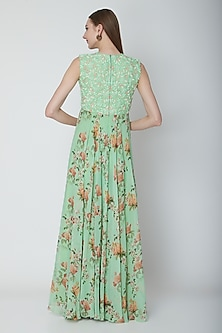 Mint Green Embroidered Jumpsuit by Neha Chopra