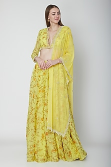 Yellow Printed Georgette Lehenga Set by Neha Chopra