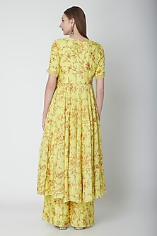 Yellow Printed Chiffon Anarkali Set by Neha Chopra