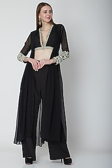 Black Embroidered Crop Top & Pants Set by Neha Chopra