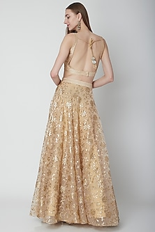 Gold Embroidered Raw Silk Lehenga Set by Neha Chopra