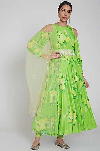 Lime Green Printed Anarkali Set  by Neha Chopra Tandon