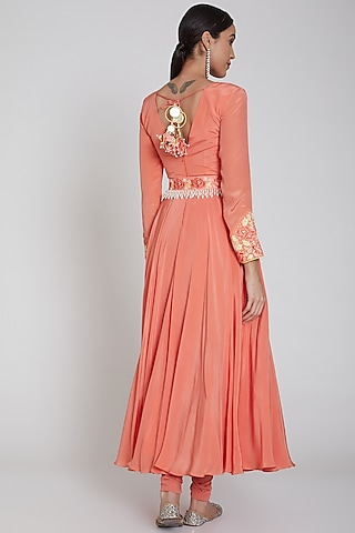 Peach Embroidered Anarkali Set With Belt by Neha Chopra Tandon