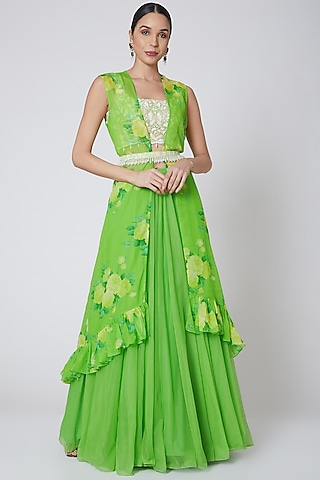 Lime Green Embroidered Cape Lehenga Set by Neha Chopra Tandon