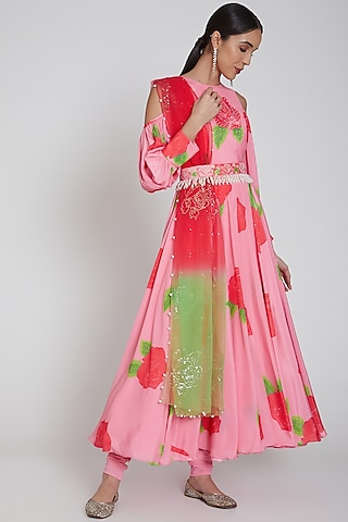 Blush Pink Printed Anarkali Set With Belt by Neha Chopra Tandon