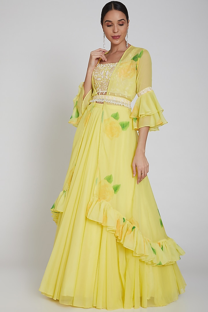 Yellow Printed Flared Cape Lehenga Set by Neha Chopra Tandon