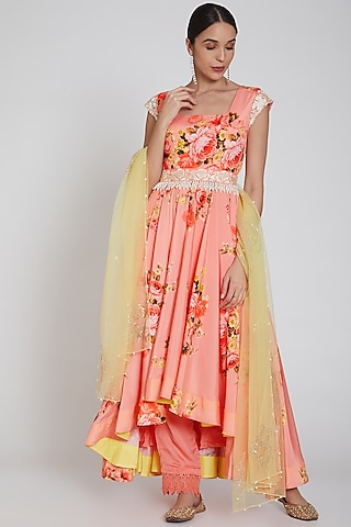 Peach Printed High-Low Anarkali Set by Neha Chopra Tandon