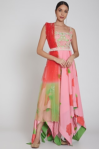 Blush Pink Floral Printed Anarkali Set by Neha Chopra Tandon