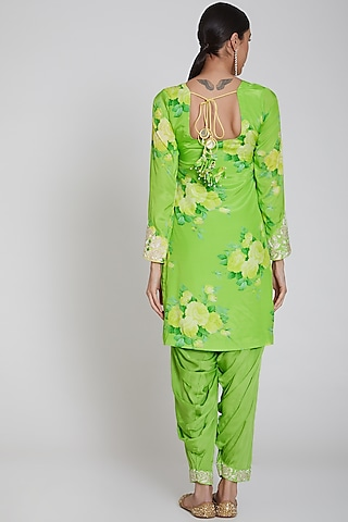 Lime Green Printed & Embroidered Kurta Set by Neha Chopra Tandon