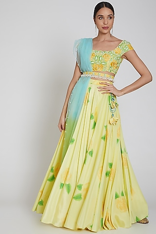 Yellow Printed Lehenga Set With Belt by Neha Chopra Tandon