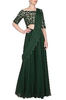 Emerald Green Embroidered Sharara Saree by Neha Chopra