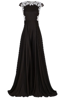 Black Embroidered Jumpsuit by Neha Chopra