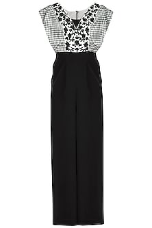 Black Floral Embroidered Jumpsuit by Neha Chopra