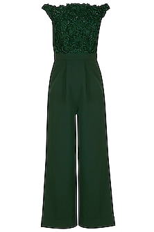 Emerald Green Embroidered Jumpsuit by Neha Chopra