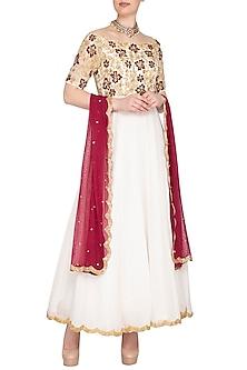 White Embroidered Anarkali Set by Neha Chopra