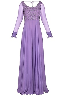 Lilac Embroidered Anarkali Jumpsuit With Dupatta by Neha Chopra