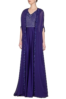 Royal Blue Jumpsuit With Embroidered Cape by Neha Chopra